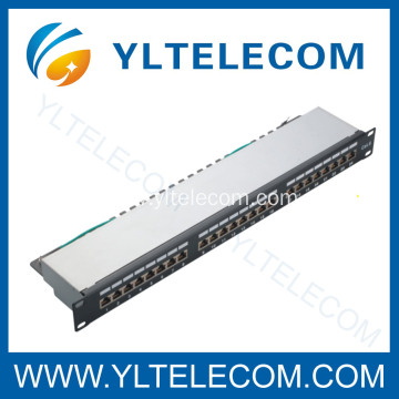 1U 19inch 24port(3*8) Shielded Patch Panel Cat.5e and Cat.6 type